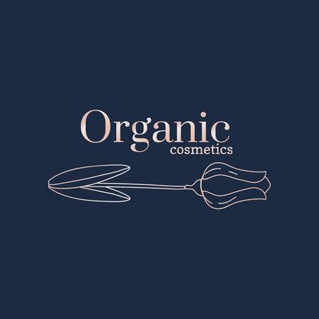 Floral organic cosmetics logo, vector illustration