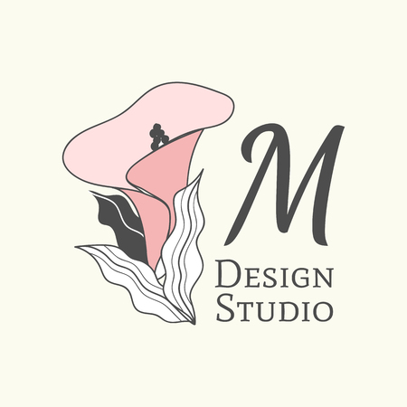 M design studio logo, vector illustration