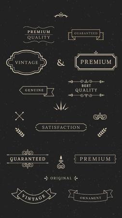 Vintage premium banner collection, vector illustration