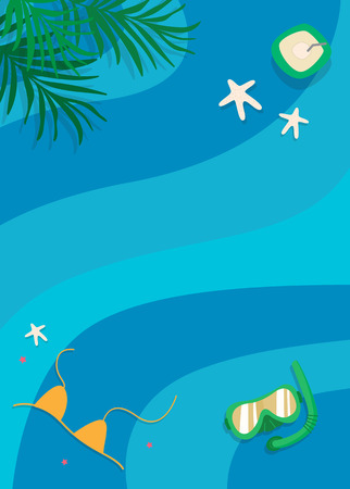 Summer ocean snorkeling background vector  イラスト・ベクター素材