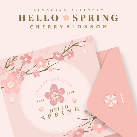 Pink cherry blossom postcard template, vector illustration 일러스트