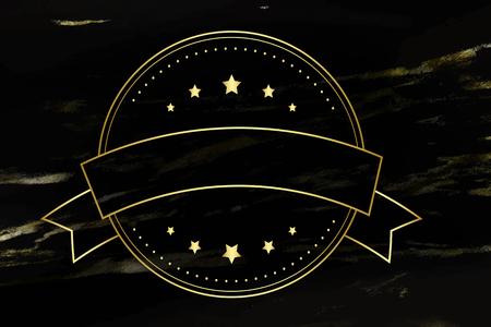 Round badge on black background, vector illustration Illustration