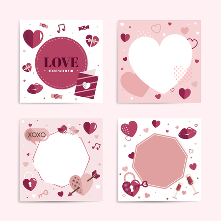 Valentine's Day blank backgrounds vector set 스톡 콘텐츠 - 122905719