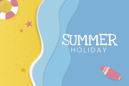 Summer holiday tropical beach background vector Archivio Fotografico - 122905720