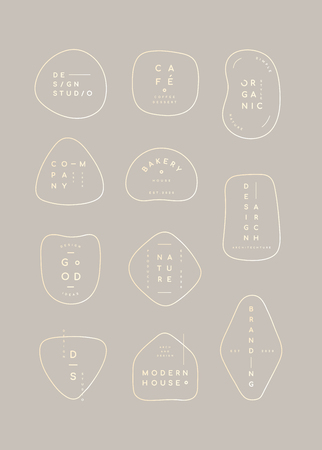 Simple pastel minimal badge collection, vector illustration 版權商用圖片 - 121628207