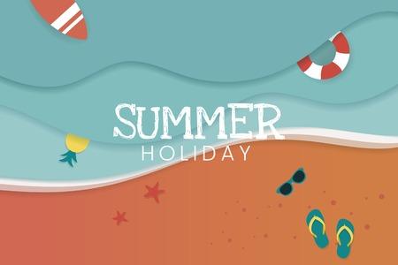 Summer holiday tropical beach background vector Standard-Bild - 122905749