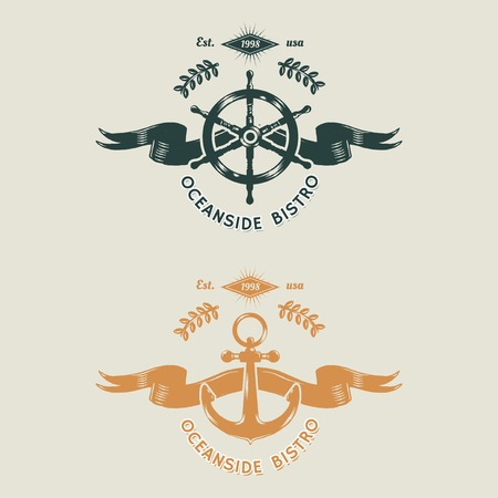 Seafood restaurant vintage logos, vector illustration