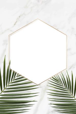 Hexagon golden frame on a marble background vector Illusztráció