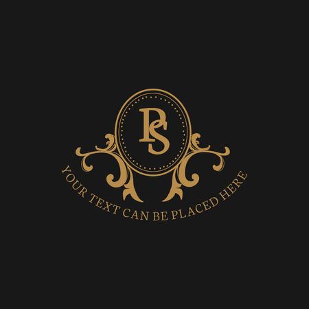 Insigne baroque de style vintage, illustration vectorielle