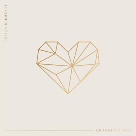 Golden geometric style heart, vector illustration