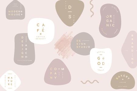 Semplice collezione di badge minimal pastello, illustrazione vettoriale