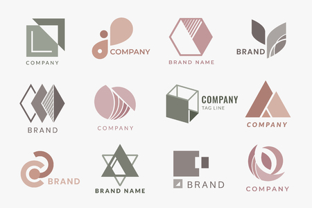 Company branding logo designs, vector illustration 向量圖像