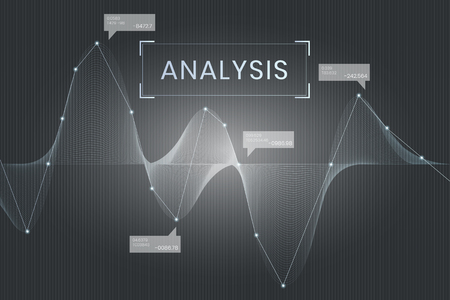 Gray business data analysis graph, vector illustration