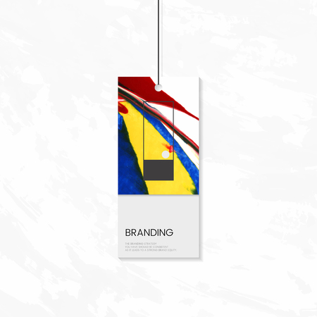 Tag branding with abstract design, vector illustration