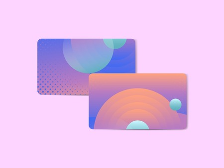 Bluish geometric abstract patterned business card template, vector illustration Illustration