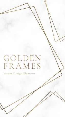 Golden square frame template, vector illustration Çizim