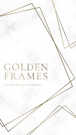Goldene quadratische Rahmenschablone, Vektorillustration