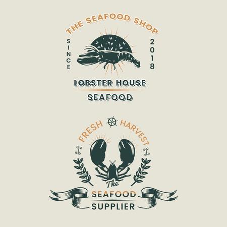 Vintage logo's van visrestaurants, vectorillustratie Logo