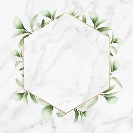Hexagon golden frame on a marble background vector Illusztráció