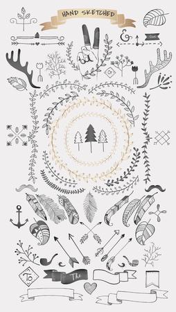 Élément de doodle boho dessiné main, illustration vectorielle