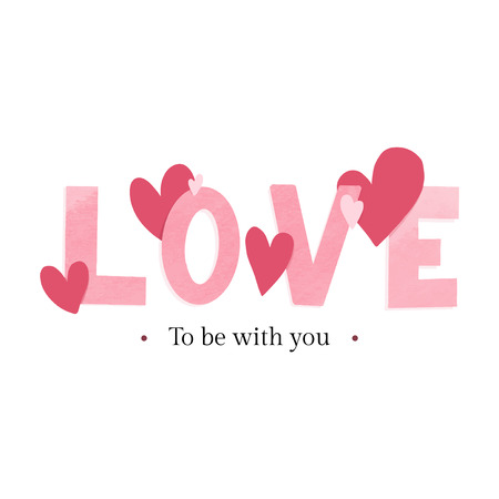 Love to be with you Valentines day card design vector Foto de archivo - 122905803
