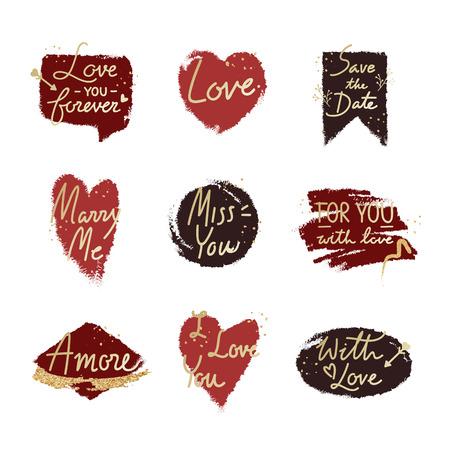 Diseño de palabra de San Valentín de tipografía en el fondo