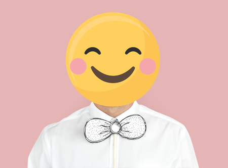 Smiley face emoji portrait on a man
