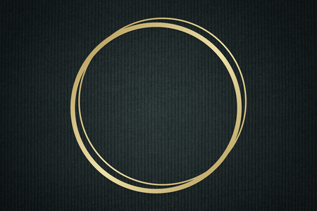 Gold circle frame on a dark fabric textured background