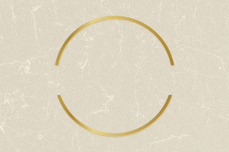 Gold circle frame on a beige paper textured background
