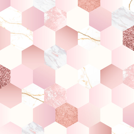 Pink feminine hexagon geometric background vector