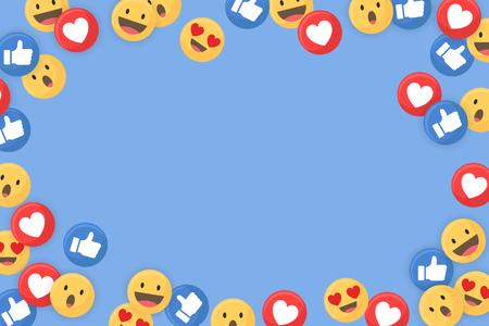 Bordure sur le thème des médias sociaux sur un vecteur de fond bleu