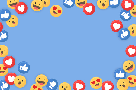 Social Media themenorientierte Grenze auf einem blauen Hintergrundvektor