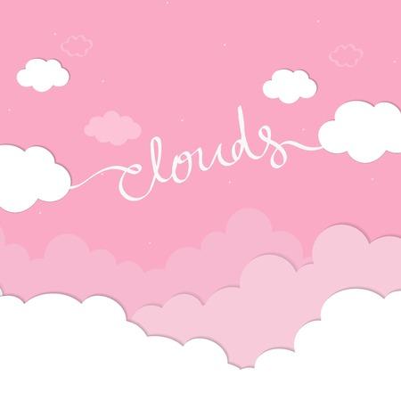 Ciel rose avec vecteur de papier peint nuages Vecteurs