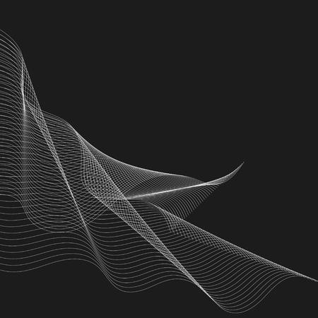White moiré wave on black background Illustration