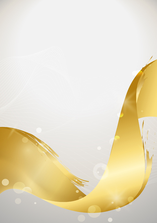 Golden wave abstract background, vector illustration 向量圖像