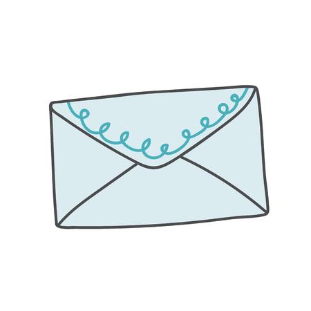 Blue envelope doodle style vector Illustration