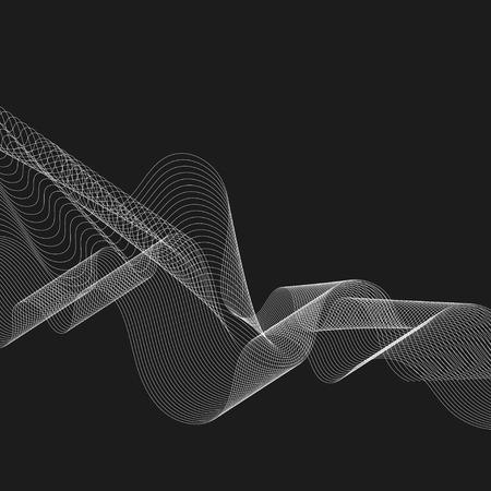 White moiré wave on black background