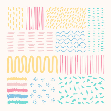 Hand drawn patterned design elements vector set Banque d'images - 121951456