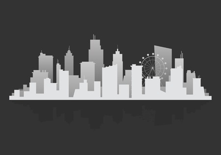 Gray silhouette cityscape background vector 向量圖像