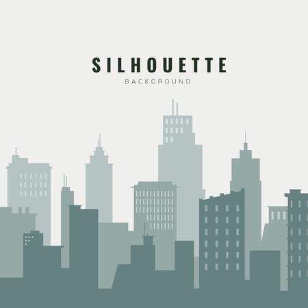 Grüne und beige Silhouette Stadtbild Hintergrund Vektor background