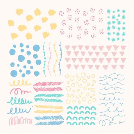 Hand drawn patterned design elements vector set