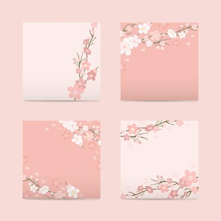 Illustrazione vettoriale di carta quadrata rosa con fiori di ciliegio Vettoriali