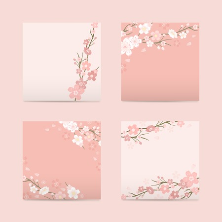 Pink square cherry blossom paper vector illustration