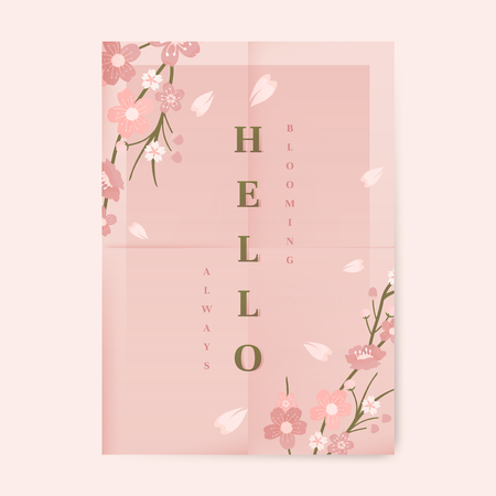 Pink cherry blossom poster template vector illustration