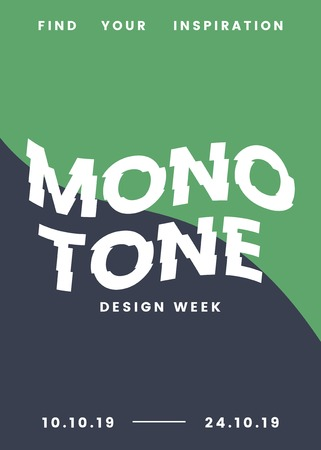 Monotone design week flyer and poster template vector illustration