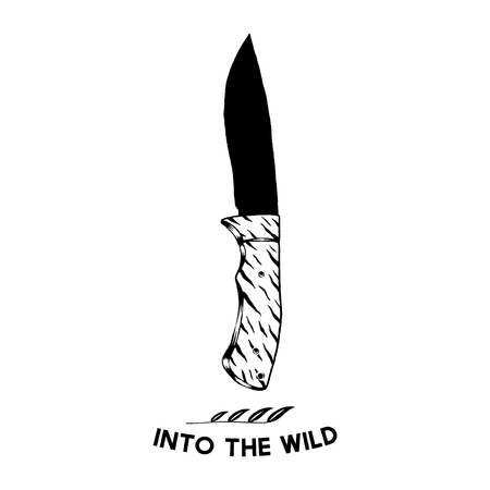 Into the wild with a camping knife vector