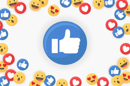 Thumbs up icon on a social media background vector illustration Illustration