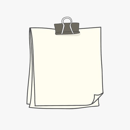 Blank white note paper with paperclip vector illustration