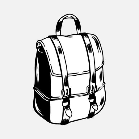 Black camping trip rucksack vector