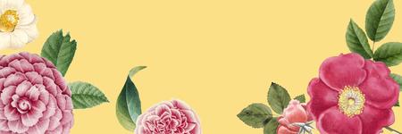Blank floral banner design vector